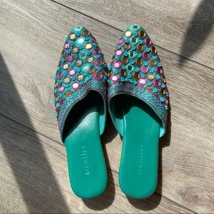 Mantles Handcrafted Embroidered Mule Slipper